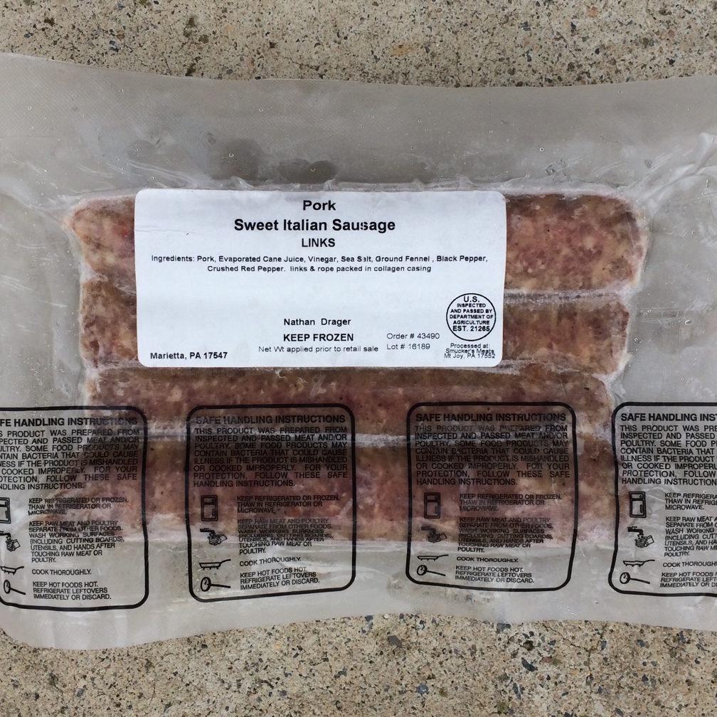 Sweet Italian Pork Sausage | Drager Farms, Marietta PA